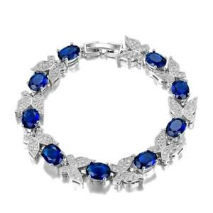 Luxury 925 Silver Sapphire Birthstone Butterfly Bracelet Women Wedding Jewelry