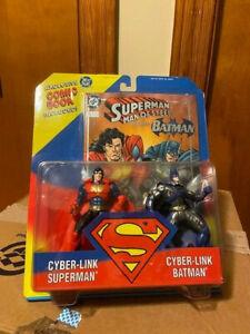 1995 CYBER-LINK SUPERMAN & BATMAN DC Figure Comic Book Set Kenner NEW UNOPENED