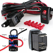 12V On/Off 5 pins Red Zombie Light Rocker Switch + Wiring Harness Relay Fuse