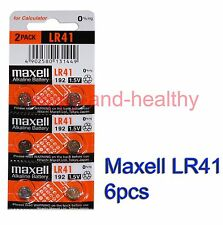 Maxell  LR41 (192) new 0% Hg Alkaline watch Battery x 6 pcs FREE shipping
