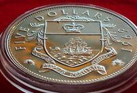 RARE SUPERB PROOF 925 STERLING SILVER 1969 BAHAMAS $5 DOLLARS 45MM  HOLDER