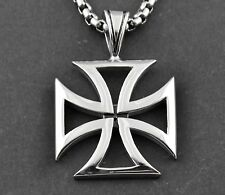 Steel Mens Charm Pendant Necklace Pp6 Chopper Iron Maltese Cross Solid Stainless