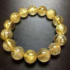 14mm Natural Gold Quartz Golden Hair Rutilated Titanium Crystal Bracelet