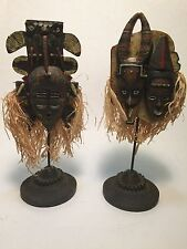 Pair Of Carved Wooden Masks With Bases. Home-decor