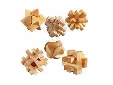 Wood Desktop Game 6 Cubes Intelligence Stimulate Brain Puzzle Tetris Teaser NEW
