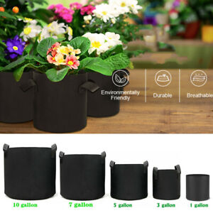 1Pack-10 Pack Round Fabric Aeration Plant Pots Grow Bags 1 3 5 7 10 Gallon Black