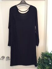 New NEXT Black Knee Length Long Sleeve Shift Dress With Stretch Size 10/12
