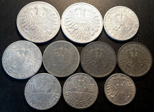 Autriche - Gouvernement provisoire - lot de x10 monnaies de 1946 à 1957