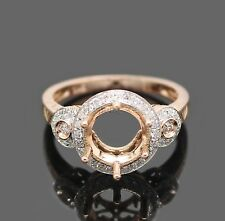 Round Shape 7.5mm Solid 14Kt Rose Gold Diamond Engagement Semi Mount Ring