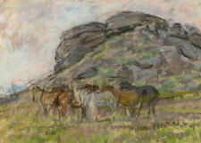 Alice Des Clayes ARCA, Horses – Original early 20th-century pastel drawing