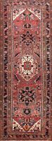 Vintage Geometric Heriz Hand-knotted Runner Rug Tribal Oriental Staircase 4'x11'