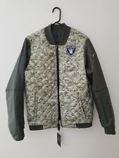 OAKLAND RAIDERS 2017 NFL Salute to Service Nike Reversible Bomber Jacket SMALL
