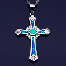 Delicate cross Design Silver Blue Artificial opal Pendant Necklace Jewelry Gifts