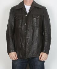 "Leather Jacket UK 40"" 42"" Medium Fitted Brown 70's (69EA)"