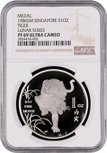1986 Singapore Ounce Proof 1 oz Silver Year of the Tiger NGC PF69 Ultra Cameo