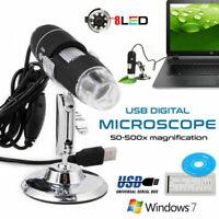 2MP USB 1000X 8 LED Digital Microscope Endoscope Magnifier Camera+Lift Stand Hot