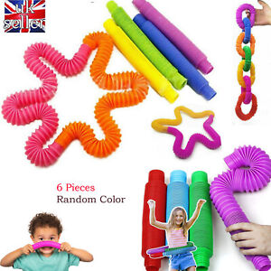 6PCS Fidget Tube Toys for Kids Adults Stretch Pipe Sensory Tool Stress Relief UK