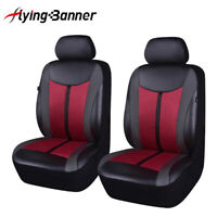 Universal Wine Red PU Leather Car Seat Covers Full Set Breathable Cushions Auto