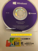 Microsoft Windows 10 PRO Professional 64bit DVD + COA Product Key + Drive