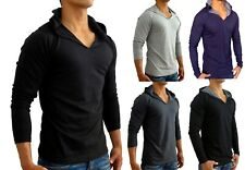 MENS HOODED LONG SLEEVE T SHIRT RAGLAN S - M SLIM FIT CASUAL GYM BASIC PLAIN