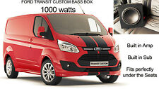 "Ford Transit custom 8"" Active Bass Box Amplified AMP Subwoofer Sub Ski Hatch fit"