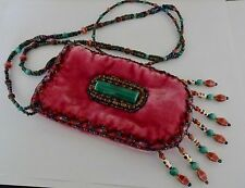 Vintage Velvet Beaded Neck pouch Mini Lanyard Bag Phone Case Necklace Festival
