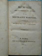 NEUTRALITE MARITIME, 1812 / ALLIANCES CANTONS SUISSES, 1818 politique, commerce