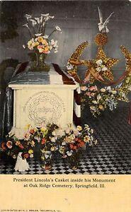 H71/ Springfield Illinois Postcard c1910 President Lincoln Casket Monument 200
