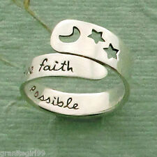 When You Have Faith Adjustable Ring 925 Sterling Silver Far Fetched Gift Boxed