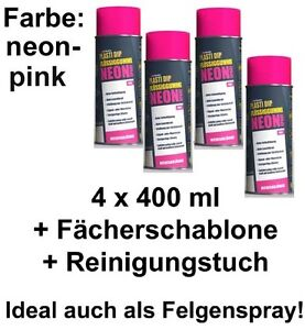 Plasti Dip Auto SPRÜHFOLIE Felgenfolie Flüssiggummi Neonspray neon-pink 4x 400ml