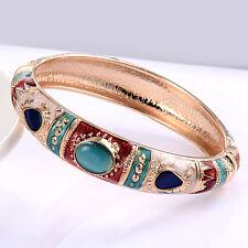 Wedding Delicate Cuff Bracelet Cloisonne Opal Enamel Craft Gold Plated 70mm