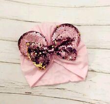 New listing Cute! Baby Minnie mouse beanie turban ears with sequin hair bow
