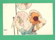 EARLY VINTAGE RAPHAEL KIRCHNER ART NOUVEAU POSTCARD PRETTY LADY RED HAIR MIRRORS
