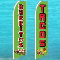 TACOS BURRITOS Mexican Food Swooper Flag Tall Vertical Feather Bow Banner Sign