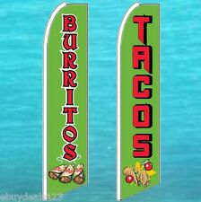 1 BURRITOS + 1 TACOS FLUTTER FEATHER FLAG Advertising Sign Swooper Bow Banner