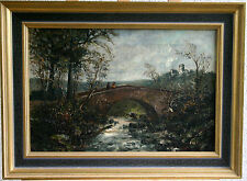 Die Begegnung, Landschaftsgemälde, Öl auf Leinwand um 1900