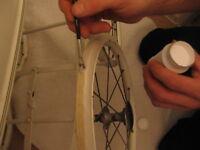 White Rubber PRAM TYRE PAINT 100ml  for Silver Cross, Coachbuilt  pram