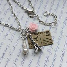 Silver Paris Necklace, Eiffel Tower & Pink Rose Charms, Vintage Postcard Pendant