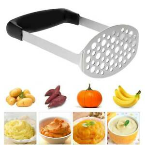 Heavy Duty Stainless Steel Wide Grip Metal Potato Cook Masher Tool Durable  New