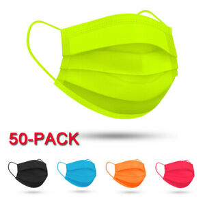 50 PCS Protective Disposable 4-Ply Fluorescence Face Mask Mouth Cover For Adult