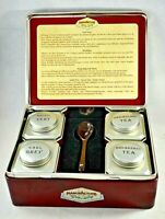 "Vintage  empty TEA TIN BOX with 4 sample tea tins spoon French ""La manufacture"""