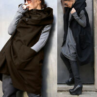 Damen Mode Kapuzenpullover Weste Reißverschlussfach Lose Jacke Mantel Waistcoat