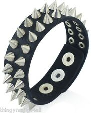 PUNK BLACK SPIKED WRISTBAND WRIST STRAP BAND STUD LEATHER SPIKE BRACELET BANGLE
