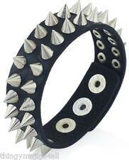 Punk Negro Con Picos wristband Wrist Strap Band Stud Pulsera de Cuero Spike A81 Reino Unido