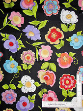 Loralie Harris Fabric Blossom Large Flower Toss #174 Black Floral Garden - YARD