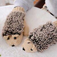 Winter Gloves Adult Women Knitting Wool Warm Mittens Fingerless Cartoon Hedgehog