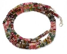 """Natural Gem Brazil Tourmaline 5MM Size Smooth Square Heishi Beads Necklace 19"""""""