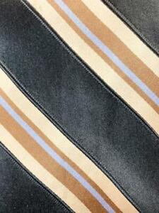 "IKE BEHAR NEW YORK BLACK BROWN STRIPE 66"" X-LONG SILK NECKTIE TIE MAP0121A #R26"