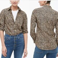New J.Crew Womans Button down Leopard Print Shirt Poplin Blouse Sz Small NWT