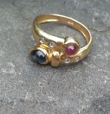 Ring mit Saphire Rubin Brillant Diamant Gold 585  Gr. 17,5 / 55 Gelbgold